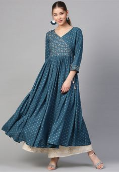Buy Sea Blue Color Rayon Kurti For Women Online - ThealiceOnline Kurta Designs, Kurti Designs Party Wear, Blouse Designs, Pakistani Dress Design, Pakistani Dresses, Indian Dresses, Indian Outfits, Indian Clothes, Western Outfits