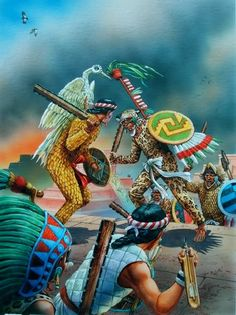 """""""It is folly for a man to pray to the gods for that which he has the power to obtain by himself."""" ~ Epicurus *Aztec Warriors engaging with Tlaxcallan Warriors Illustrator: Peter Dennis. Aztecas Art, Aztec Empire, Aztec Ruins, Aztec Culture, Aztec Warrior, Mesoamerican, Chicano Art, Conquistador, Mexican Art"""
