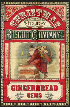 Vintage Victorian Christmas Gingerbread Digital Download Label Printable