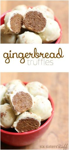 Gingerbread Truffles recipe from @SixSistersStuff |  Truffles are one of our favorite desserts because they can be made with a few simple ingredients and no baking! Plus, the recipe can easily be doubled or tripled so you can easily give them out during the holiday season to co-workers and neighbors.