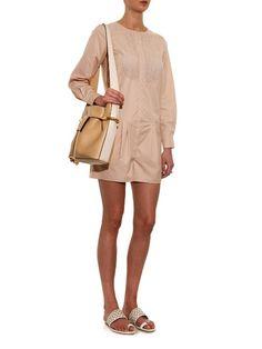 Click here to buy Nina Ricci Contrast-bib cotton-poplin playsuit at MATCHESFASHION.COM