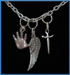 Supernatural themed Castiel Necklace Angel Blue Tie
