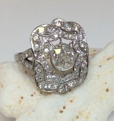 Antique Art Deco Platinum 1.90ct Old Mine Diamond Engagement Ring Circa 1920S #SolitairewithAccents by AislingH