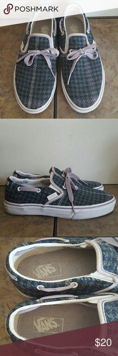 Vans Plaid Sneaker Teal plaid pattern on a wool lime teztule material!  Slip on boat shoe styling for men or women!!  Men US 7/ Women US 8.5 Vans Shoes Sneakers