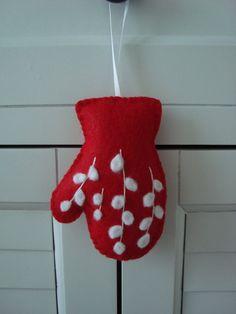 Red White Snow Berries Felt Mitten Ornament Gift by madgemdesigns, $9.00