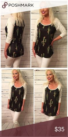 Adorable cactus 🌵 baseball tee! 3 qtr sleeve baseball tee in soft jersey knit! Tops