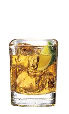 The Ginger Root Beer is an orange colored drink made from Smirnoff Root Beer vodka, ginger ale, club soda and lime, and served over ice in a rocks glass.