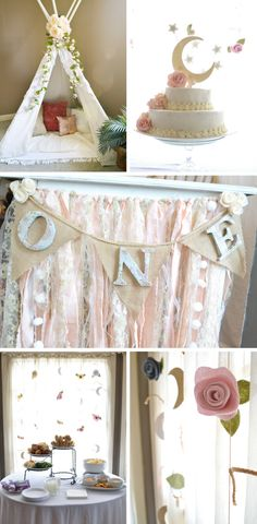 Baby girl floral first birthday party ideas and DIY party decor