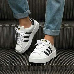c85da9cd108 1801 ADIDAS SUPERSTAR BOLD PLATFORM WOMEN SHOES BA7666 WHITE BLACK SZ 8