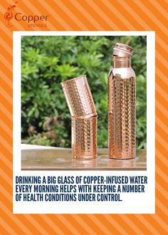 Pure Copper Hammered Bottle with Two Matching Tumblers Copper Rose, Pure Copper, Rose Gold, Copper Vessel, Hammered Copper, Yoga Products, Pure Products, Copper Utensils, Reap The Benefits