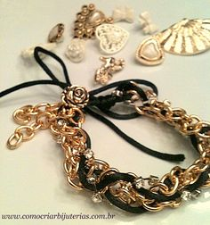 How to Make: Bracelet golden chains, rhinestone chain so cute!