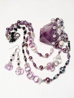 Necklace Earrings Set Purple Pearls Black beads by CinfulDesigns, $29.00