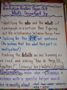 Love the process this poster uses for finding important information (main idea & details)