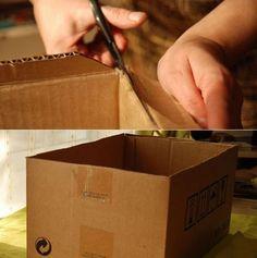 como fazer caixa forrada de papelao tutorial