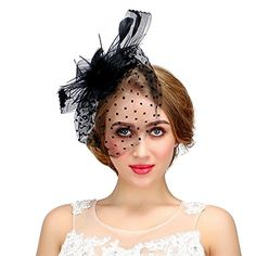 74697c2c4b8 Valdler Women Bow Mesh Clip Fascinators for Wedding Performance and Party  Black