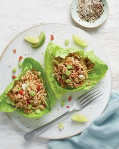 At the moment I am into spicier food with a bit of crunch. One easy to way to get that is to wrap your filling in a crisp lettuce leaf - Romaine Wrap Recipes, Spicy Recipes, Pork Recipes, Whole Food Recipes, Healthy Recipes, Healthy Food, Pork Wraps, Pork Lettuce Wraps, Low Fat Cooking
