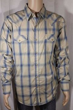 Wrangler Retro Premium Western Beige Blue Faded Plaid Button Front Size XL  #Wrangler #ButtonFront