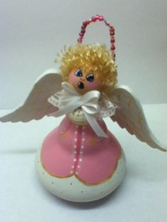Angel made from painted light bulb. by SweetThingsToRemembe, $12.00