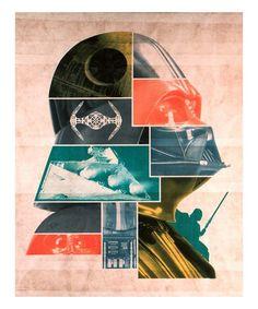 Star Wars Retro Vader: Dark Side Collage Wrapped Canvas