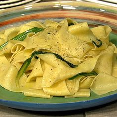 Mario Batali's Fresh Pappardelle with Ramps and Lobster (via the Chew)