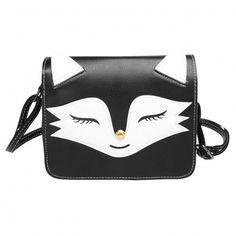 Cute Fox Smile Face Pattern Flap Closure Cross-body Bag