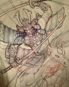 Samurai sketch in progress. #chronicink #asianink #tattoo #irezumi #samurai #irezumicollective #sketch #illustration