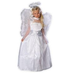 Girls Rosebud Angel Costume - This precious angel costume is to die for! The beautiful Rosebud Angel costume includes: long, white angel gown with quilted top and marabou trim, marabou trimmed over-sized wings and halo headpiece as shown. Girls Angel Costume, Angel Halloween Costumes, Christmas Costumes, Halloween Ideas, Fantasy Costumes, Nativity Costumes, Halloween City, Toddler Halloween, Halloween 2018
