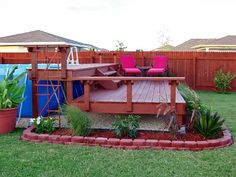 pool deck ideas | Above Ground Pool Deck Ideas: Above Ground Pool Deck Ideas Chair Pink ...