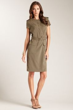 Magaschoni Short Sleeve Tie Front Dress   $59