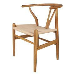 Decoración Vintage Wishbone - Silla de madera roble natural y asiento de ratán, 57 x 57 x 48/74 cm: Amazon.es: Hogar