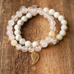 Rose quartz bracelet. More