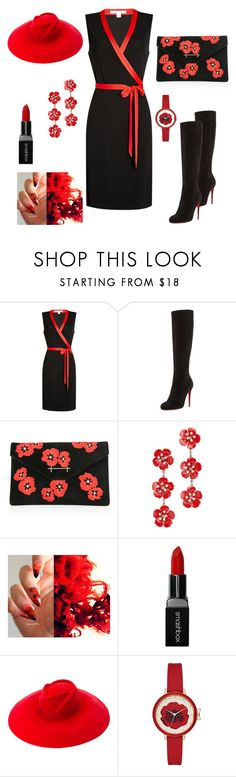 """Classy Black & Red Flower Fall Set (#31)"" by nazanin-mk ❤ liked on Polyvore featuring Diane Von Furstenberg, Christian Louboutin, M2Malletier, Jennifer Behr, Smashbox, Gucci, black, cherryblossom, redhat and Kneehighboots"