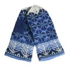 KIts included yarn and instruction in Finnish. Fingerless Mittens, Knit Mittens, Knitted Gloves, Knitting Socks, Wrist Warmers, Hand Warmers, Mittens Pattern, Fair Isle Knitting, Couture