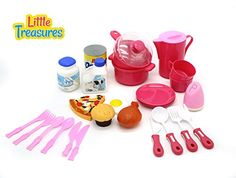 Toy Kitchen Sets - Little Treasures Family Meal Time Miniture Kitchen Serving set for kids * More info could be found at the image url.