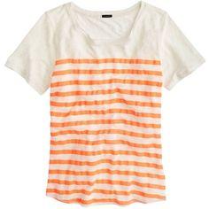 J.Crew Linen Striped T-Shirt ($26) ❤ liked on Polyvore featuring tops, t-shirts, shirts, tees, linen shirt, loose t shirt, pink striped shirt, loose shirts and stripe t shirt