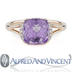 The featured ring showcases a checkerboard cushion cut amethyst & round cut diamond accents set in a 14k rose gold splitshank setting.