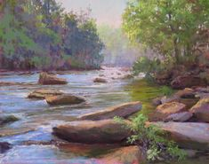"""""""Rock Hopscotch"""" is an 11""""x14"""" pastel painting. It can be purchased from Frameworks Gallery in Marietta, GA. This scene is from the Amicalola River between Ellijay and Dawsonville, GA. I am always inspired by this river and have done many paintings from different locations along it! $725 www.marshasavage.com"""