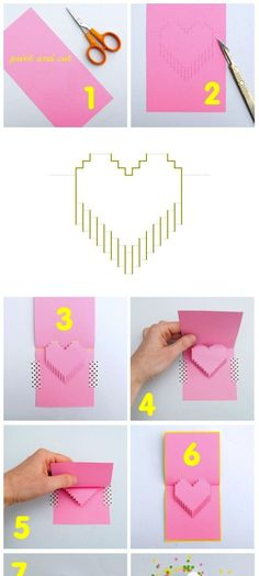 8-bit love Cards Diy Origami, Origami Paper, Diy Paper, Paper Art, Paper Crafts, Diy And Crafts, Crafts For Kids, Arts And Crafts, Craft Gifts