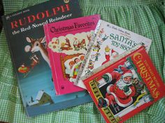 Vintage Christmas Wonder and Golden Books For Children - Rudolph, Santa Set of 4