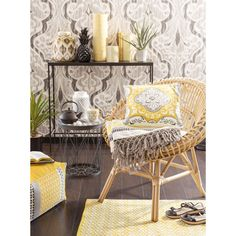 Teppich aus Baumwolle, gelb, 60 x 90cm, LEIRIA