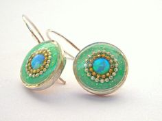 Green Silver earrings, Sterling silver earrings, Opal earrings with short hooks, Blue green earrings,Round earrings, Boho style, sparkly by hilawelner on Etsy https://www.etsy.com/listing/114075374/green-silver-earrings-sterling-silver