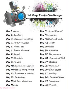 ALoy Photography To Do List: The 30 Day Photo Challenge. of the day challenge Photography Challenge, Photography Basics, Photography Lessons, Photography Projects, Photography Photos, Photography Tutorials, Photography Essentials, Flash Photography, Inspiring Photography