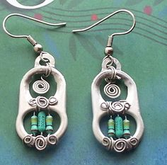 soda tab earrings made with computer parts