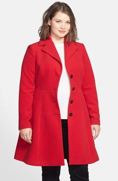 Free shipping and returns on City Chic 'Clean Cut' Coat (Plus Size) at Nordstrom.com. A crimson hue lends eye-catching style to a refined notch-collar coat designed with princess seams and an inset waist for figure-fitting flattery. A flared skirt finishes the lovely, versatile piece.