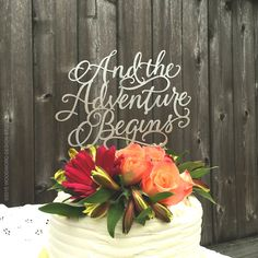 And the Adventure Begins - hand lettered cake topper Hi - Im Clair and I, along with my super husband, create each of our cake toppers one