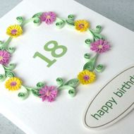 A beautiful quilled 18th birthday card with quilling flowers in lilac and lemon, for a very special person. A handmade card which is perfect for helping that someone special celebrate a special birthday. This quilled 18th birthday card can be personali...