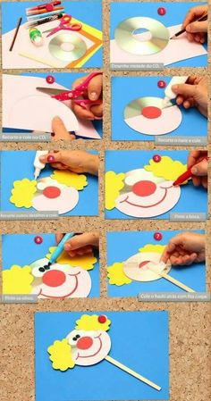 Examples of Clown Art Activities Kids Crafts, Clown Crafts, Circus Crafts, Carnival Crafts, Diy Niños Manualidades, Clown Party, Art N Craft, Preschool Crafts, Preschool Activities