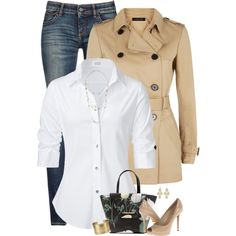 Trench Coat & White Blouse by houston555-396 on Polyvore featuring Steffen Schraut, Jaeger, Armani Jeans, Michael Kors, Ted Baker, Blue Nile, Kendra Scott and Irene Neuwirth