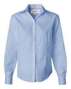 Blue Mist Ladies Non-Iron Pinpoint Oxford Shirt From Van Heusen - 13V0144