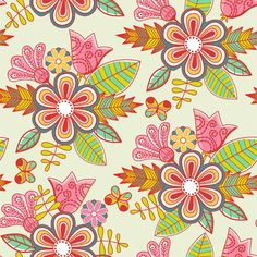 Set of Floral patterns elements vector 02